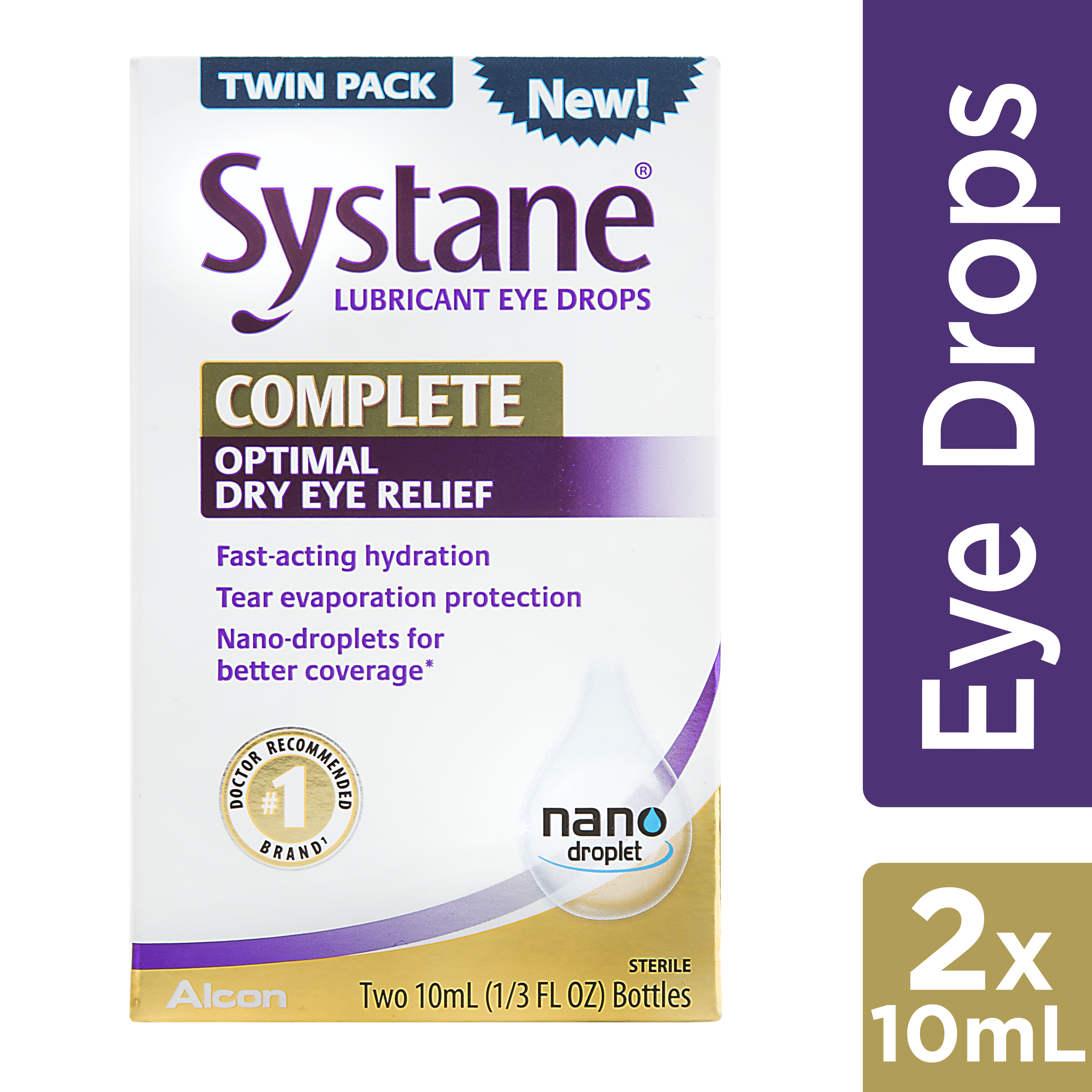 (2 Pack) Systane Complete Lubricant Eye Drops, 2 x 10mL TWIN