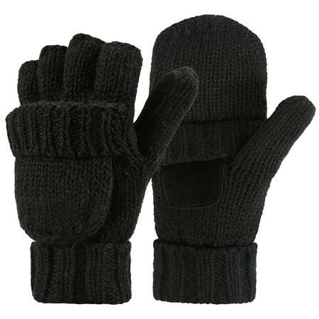 HDE Womens Winter Wool Fingerless Mittens | Warm Convertible Gloves Mitten Cover Recycled Wool Mittens