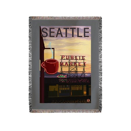 Seattle, Washington - Pike Place Market Sign & Water - Lantern Press Artwork (60x80 Woven Chenille Yarn Blanket)