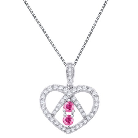 Forever Us Heart Pendant Pink 2 Solitaire Stone Cubic Zircon Sterling Silver Free Chain
