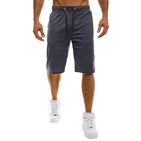 Men's Drawstring Zipper Pocket Casual Athletic Gym Shorts Drawstring Two Pocket Shorts
