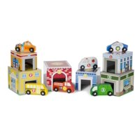 Melissa and Doug Nesting and Sorting Garages and Cars 14-Piece Play Set