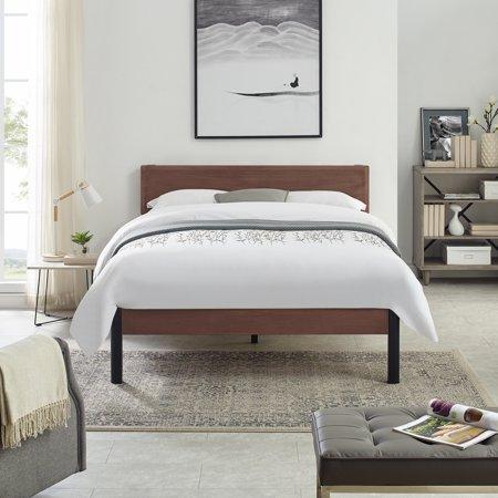 Modern Sleep Portland Wood Slat And Metal Platform Bed Frame With