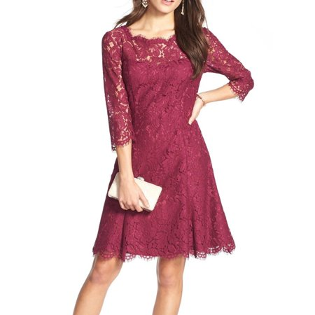Womens Scalloped Lace Fit Flare A-Line Dress 10
