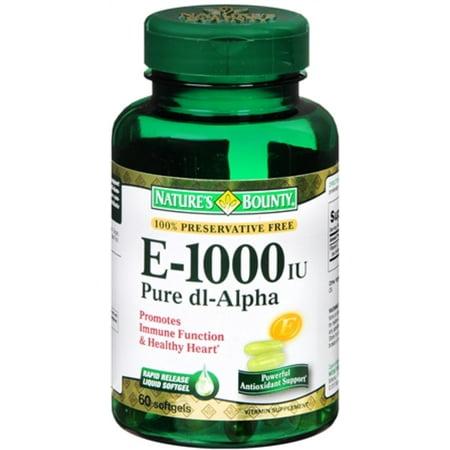 Nature's Bounty La vitamine E 1000 UI Gélules pur DL-Alpha 60 Gels mous (pack de 3)