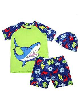 StylesiLove Kids Boy Cartoon Dinosaur Shark Rashguard Top & Swim Shorts with Hat 3 pcs Set