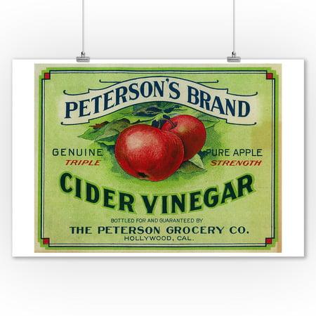 Hollywood, California - Peterson's Cider Vinegar - Vintage Label (9x12 Art Print, Wall Decor Travel Poster) - Vintage Hollywood Decor