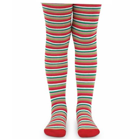 Red And White Striped Tights Child (Jefferies Socks Girls Red Green White Striped Holiday Footed Tights)