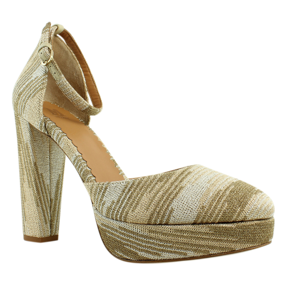 New Missoni Womens Gold Ankle Strap Heels Size 9