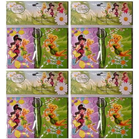 Disney Pixar (4 Pack) Tinkerbell 2 Piece Memo Pad Set With Pen ()