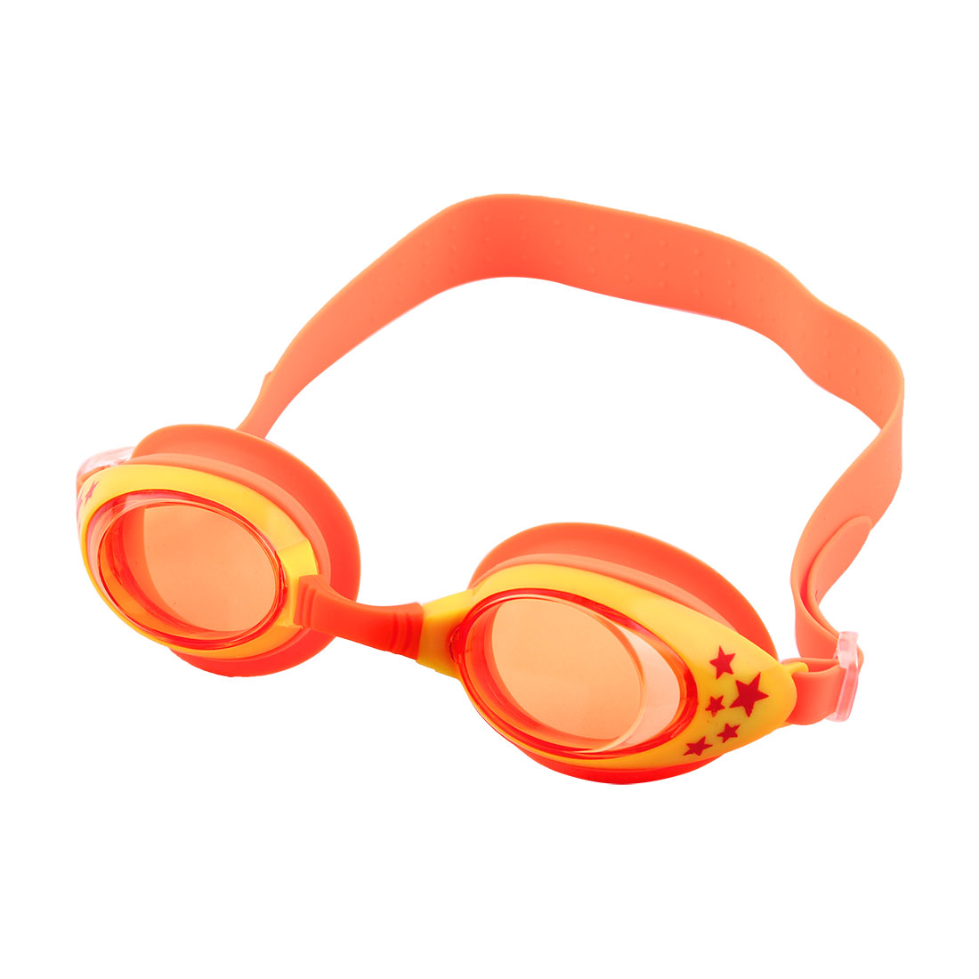 Silicone Belt Clear Vision Anti Fog Swim Goggles Glasses Orange Yellow for Child by