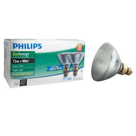 429373 Halogen PAR38 90 Watt Equivalent Dimmable Flood Standard Base Light Bulb, 2 Pack, Philips EcoVantage 72-Watt PAR38 flood light light bulb.., By Philips from USA