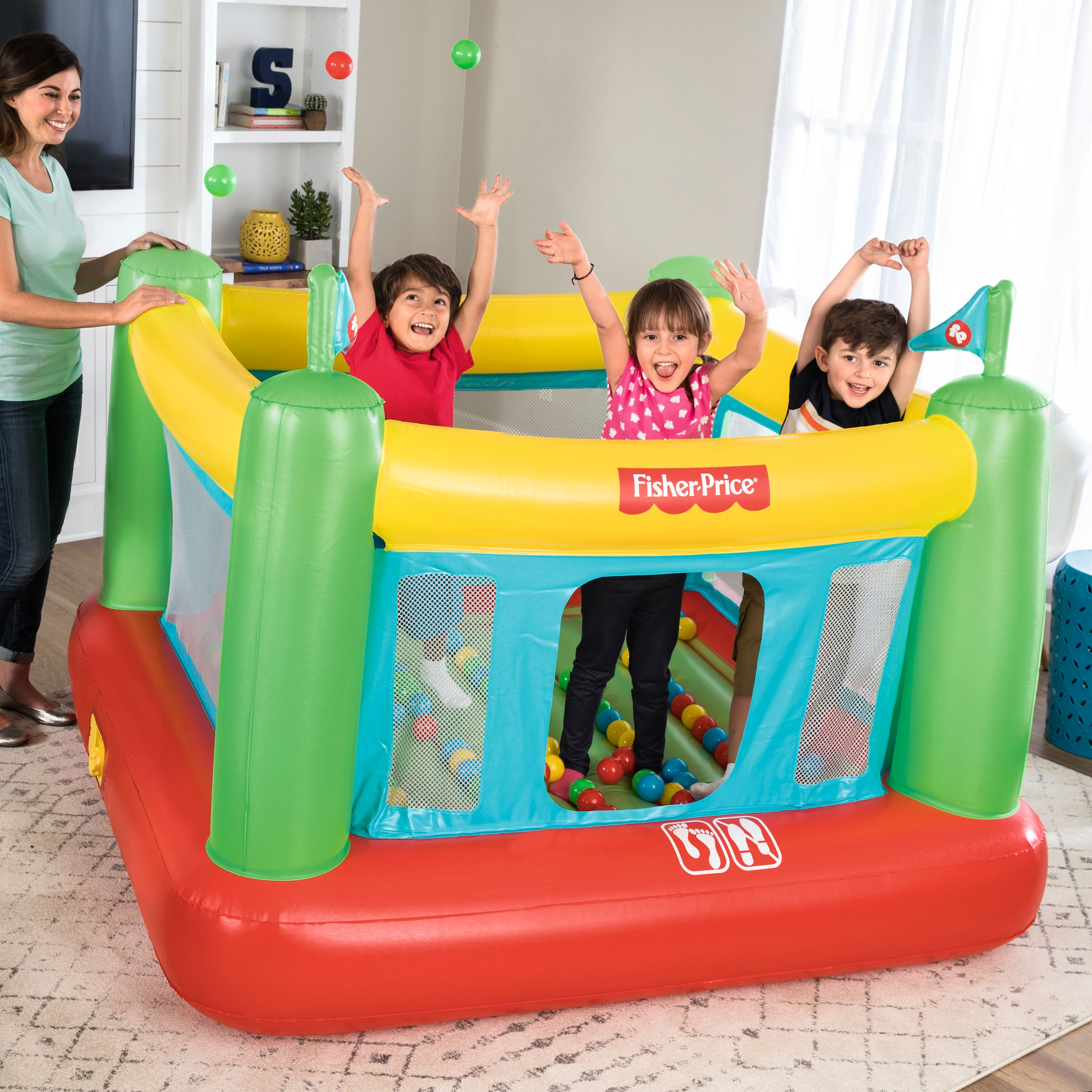 "Fisher-Price 69"" x 68"" x 53"" Bouncer with Built-in Pump and 50 Playballs"