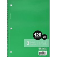 4 Pk, Bazic College Ruled 3-subject Spiral Notebook, 120 Sheets (Colors Will Vary)
