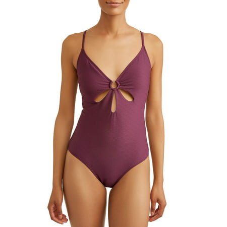 Time and Tru Women's Rib Cut Out One-piece Swimsuit