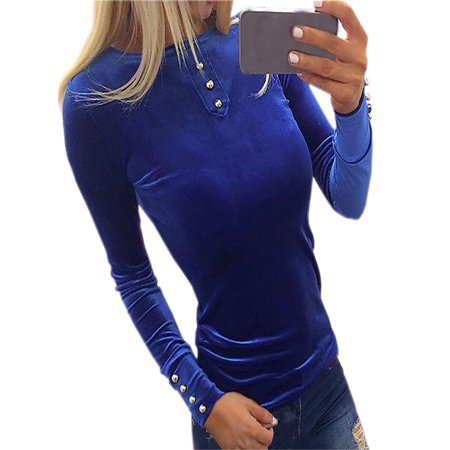 Women Sexy Solid Buttons Turtle Neck Long Sleeve Slim Blouse Top T-Shirt Casual Tee Top