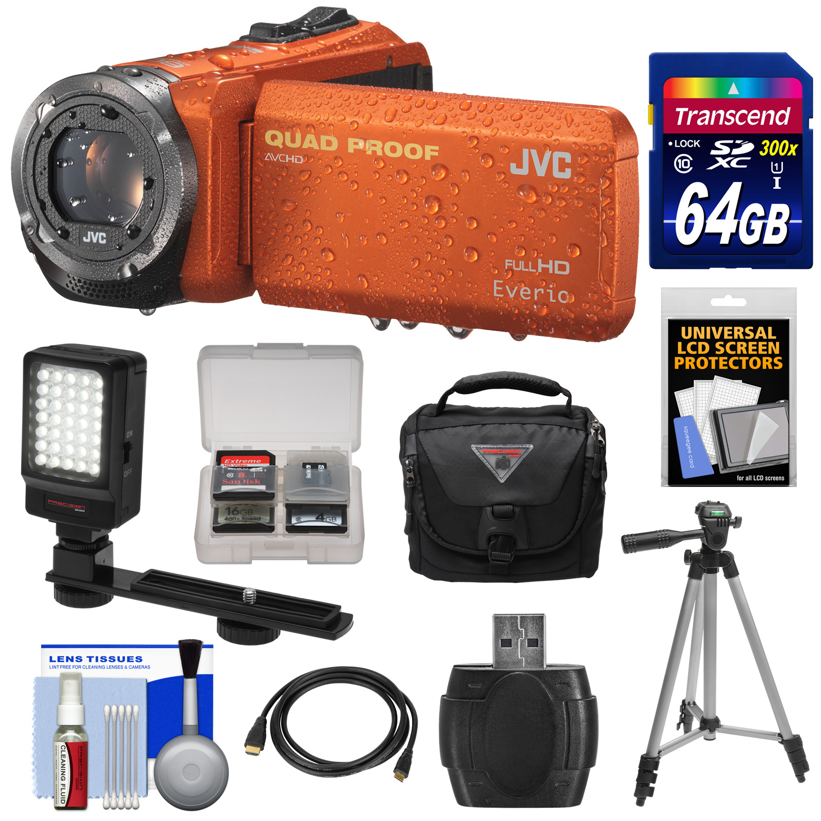 JVC Everio GZ-R320 Quad Proof Full HD Digital Video Camera Camcorder (Orange) with 64GB Card + Case + Tripod + LED Light + Kit