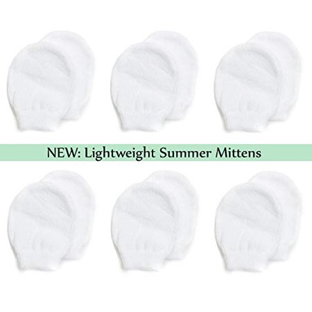 Lightweight Summer Mittens for Newborns by Nurses Choice (6 Pairs of White Cotton No Scratch (Rhino Mittens)