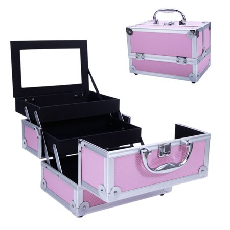 Professional Storage (Makeup Train Case Professional Cosmetic Case Jewelry Box Lockable Makeup Storage Organiser Box With Mirror and Adjustable Dividers Trays)
