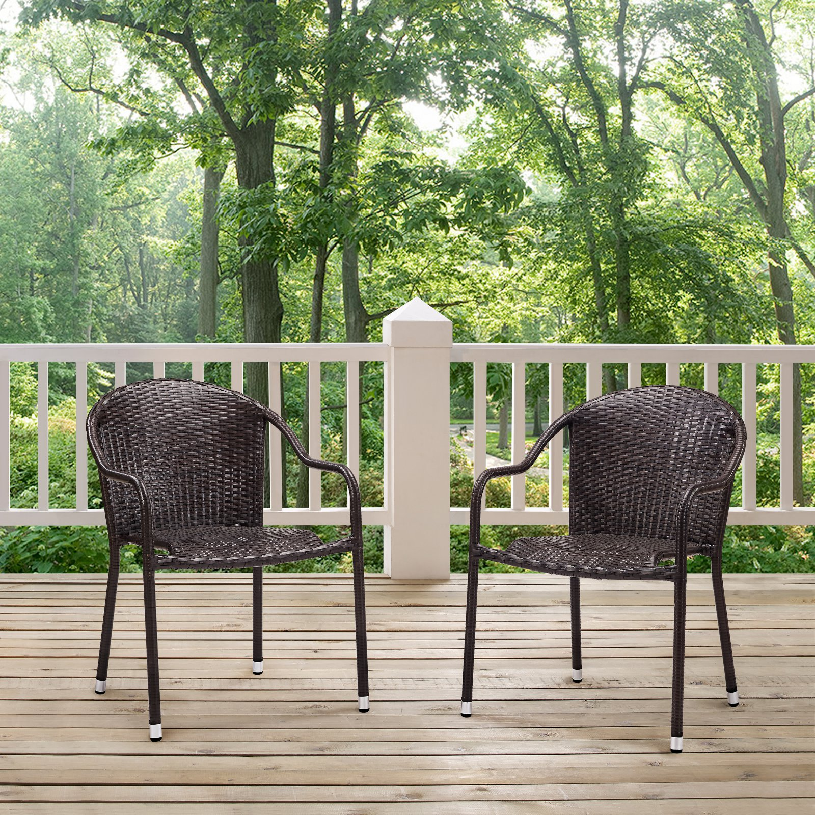 Crosley Palm Harbor Outdoor Wicker Stackable Chairs, Set of 2 by Crosley Brands, Inc