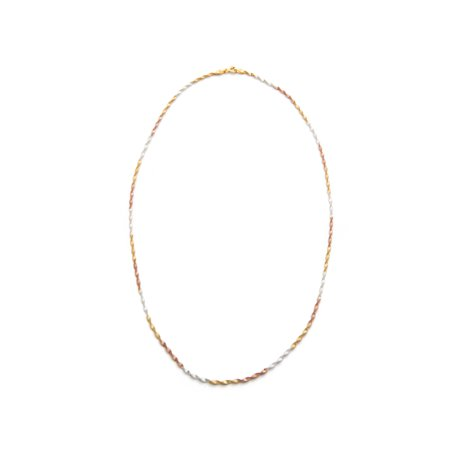 18kt Gold over Sterling Silver, Sterling Silver and 18kt Rose Gold over Sterling Silver Twisted Herringbone Necklace, - Twisted Herringbone
