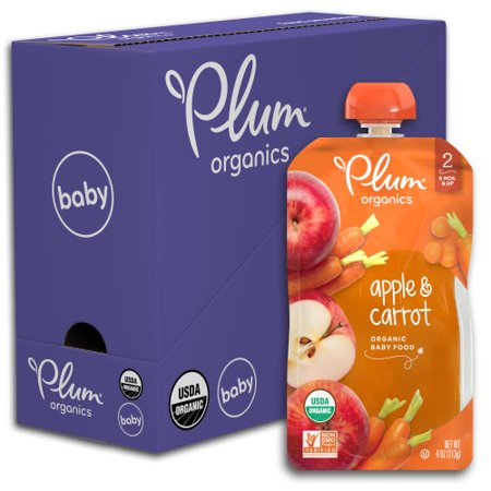 Greengage Plums (Plum Organics Stage 2, Organic Baby Food, Apple & Carrot, 4oz Pouch (Pack of)
