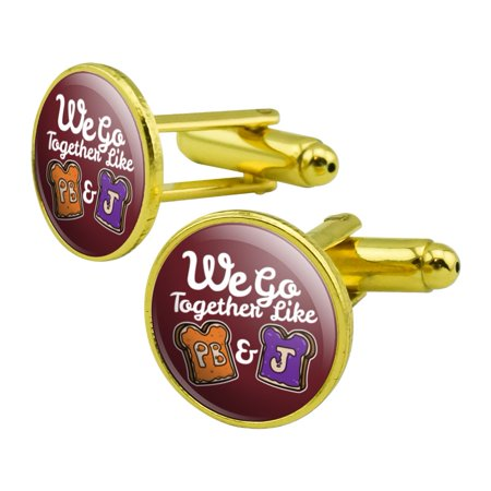 Peanut Butter and Jelly Together PB&J Best Friends Round Cufflink Set Gold