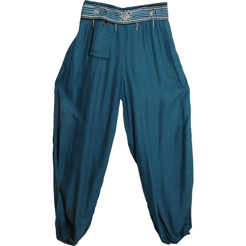 Bohemian Hippie Gypsy Yoga Embroidered Beaded Waist Cotton Harem Pants (Teal)