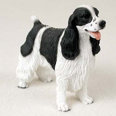 Springer Spaniel Black & White Standard Figurine, Beautifully hand painted By Conversation