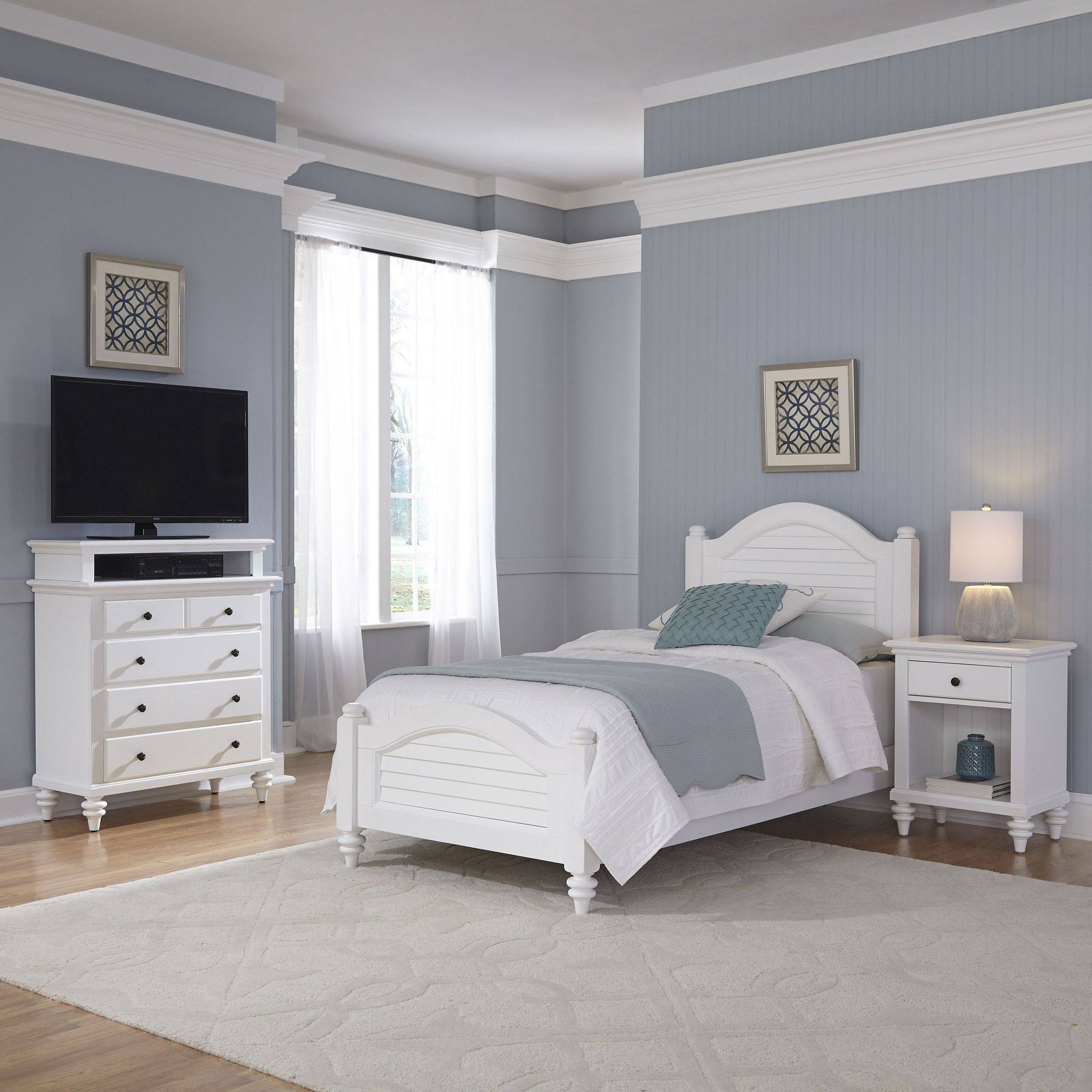 Home Styles Bermuda Bedroom Furniture Collection Brushed White Finish