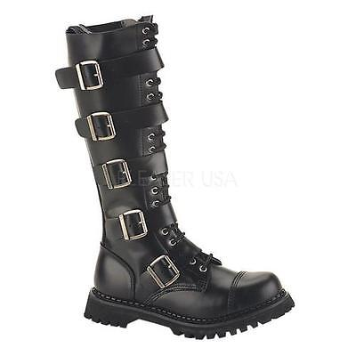 RIOT20 B LE Demonia Leather Shoes & Boots BLACK Size: 4 by