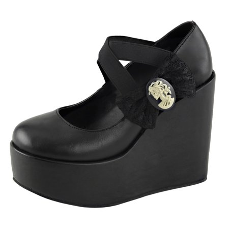 - Womens Black Strappy Wedges Platform Shoes Lace Bow Criss Cross 5 Inch Wedges