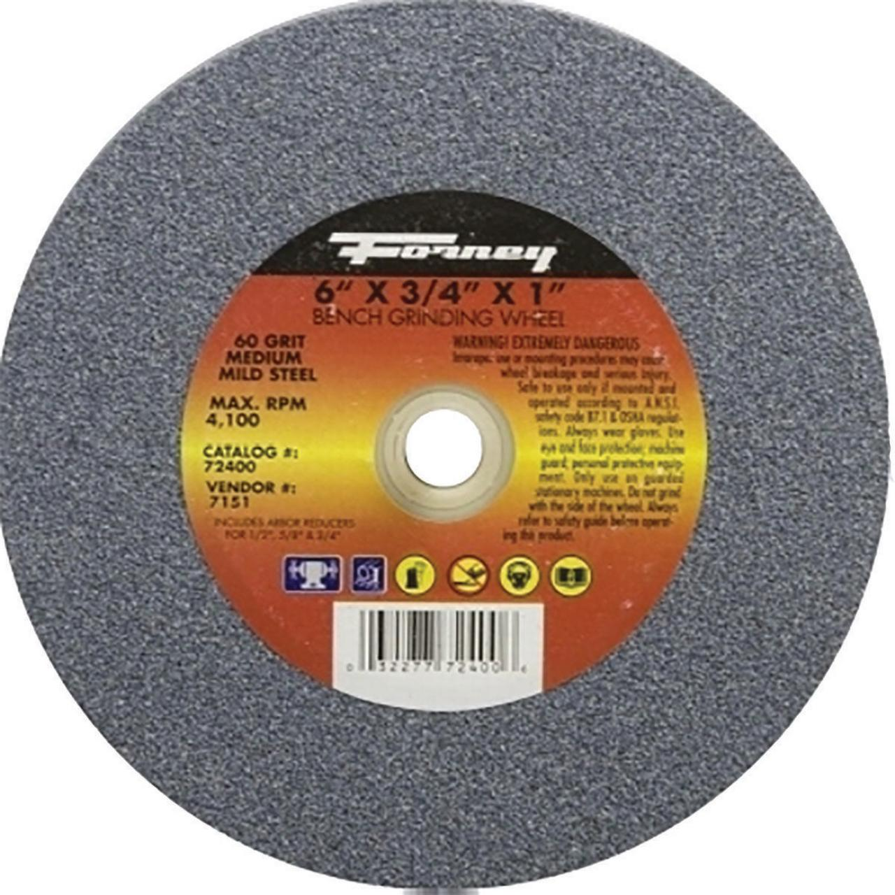 Forney Industries 72401 Type 1 Circular Shape Flat Grinding Wheel, 6 in Dia x 3/4 in T, 36 Grit, 1 i