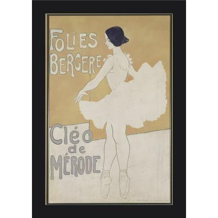 Folies Bergere - Cleo de Merode Vintage Poster France c. 1901 (11.5x18 Giclee Art Print, Gallery Framed, Black Wood)