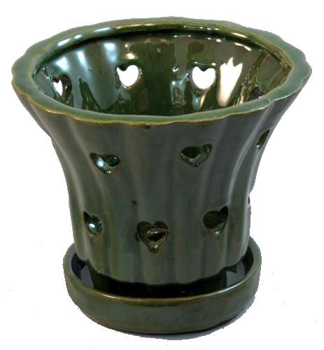 "Round Ceramic Orchid Pot and Saucer Plus Felt Feet - 5"" x 5 1/8"" - Green"