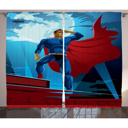 Superhero Curtains 2 Panels Set, Retro Cartoon Character Hero Saving People from Evil Strong Muscular Man with Cape, Window Drapes for Living Room Bedroom, 108W X 84L Inches, Blue Red, by Ambesonne