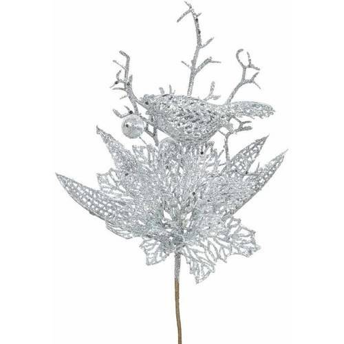 "Vickerman 14"" Glitter Poinsettia Artificial Christmas Flower, Pack of 12"