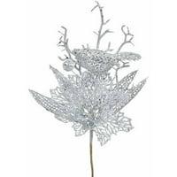 "Vickerman 14"" Glitter Poinsettia Artificial Christmas Flower, Pack of 12"