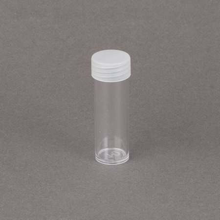 (5) Edgar Marcus Brand Round Clear Plastic (Dime) Size Coin Storage Tube Holders with Screw on Lid