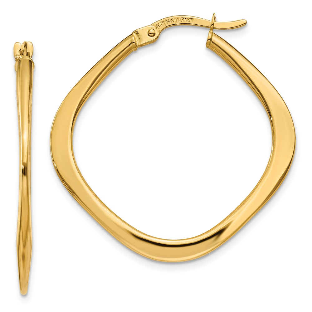 14k Yellow Gold Tapered Square Hoop Earrings (1.1IN x 1.1IN )