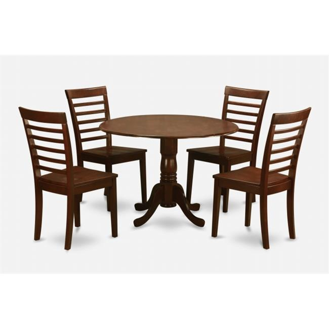 East West Furniture DLML5-MAH-W 5PC Kitchen Round Table with 2 Drop Leaves and 4 Ladder-back Chairs with Wood Seat