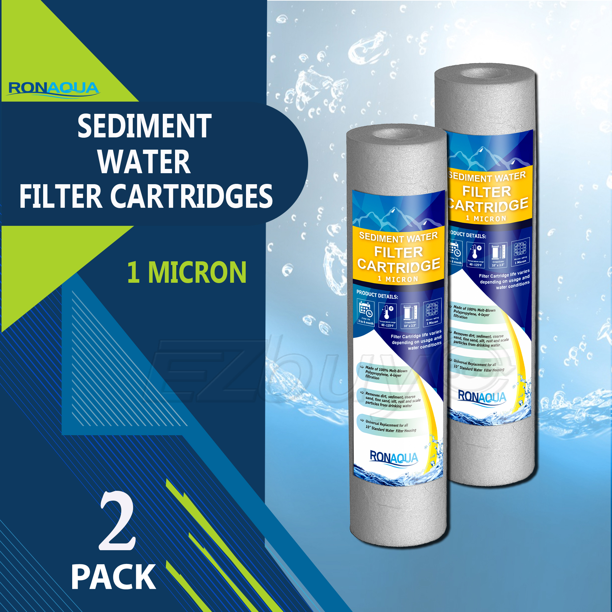 "Sediment Water Filter Cartridge by Ronaqua 10""x 2.5"", Four Layers of Filtration, Removes Sand, Dirt, Silt, Rust, made from Polypropylene (2 Pack, 1 Micron)"