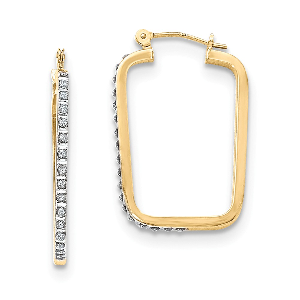 14k Two Tone Yellow & White Gold Diamond Fascination Rectangle Hoop Earrings (1.2IN