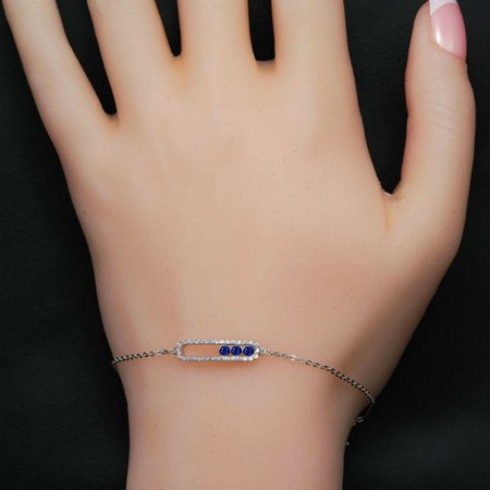 Move Classic Style .50 Carat Round Cut Diamond and Sapphire Chain Bracelet in 18k Gold Over