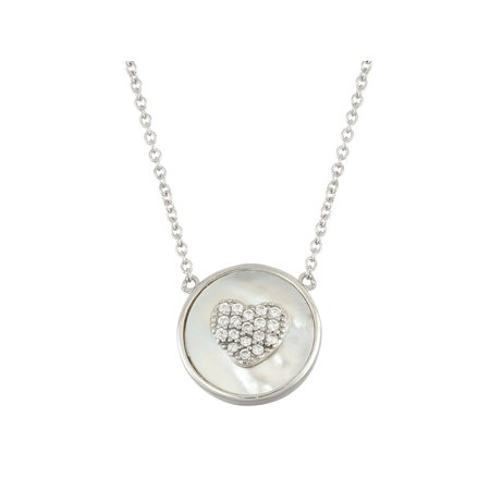 White Cubic Zirconia Heart Pave and Mother of Pearl Sterling Silver Circle Necklace, 18