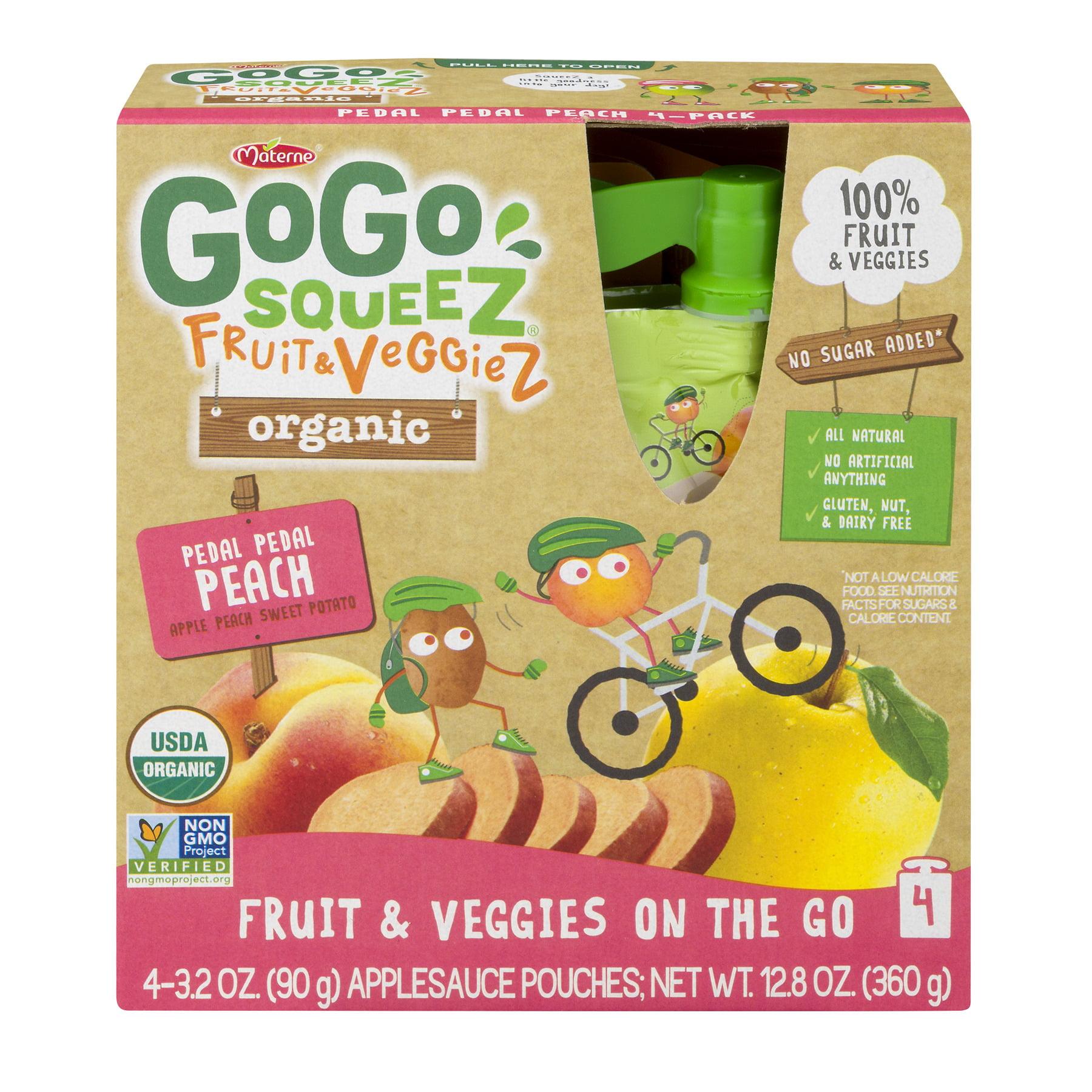 GoGo squeeZ Organic Fruit & VeggieZ on the Go, Apple Peach Sweet Potato, 3.2 Ounce (4 Pack), Unsweetened, Healthy Snacks, Gluten Free, Vegan Friendly, Reclosable, BPA Free Pouches