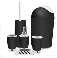 6 Piece Plastic Bathroom Accessory Set Luxury Bath Accessories Bath Set,Lotion Dispenser Toothbrush Holder Tumbler Cup Soap Dish Trash Can Toilet Brush Set