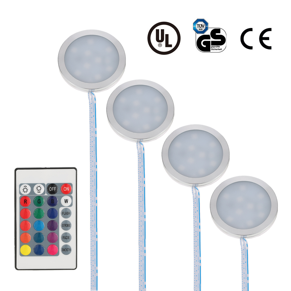 Docooler Set of 4 Under Cabinet RGB Light Kit 9LEDs Puck Lamp IR Remote Control Multi-color Dimmable Lighting