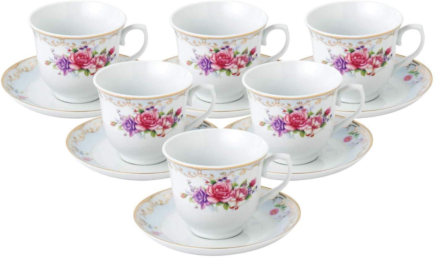 12 Piece Tea Mug /& Plate Set With Stand Tree Rose Pink Floral Design Porcelain