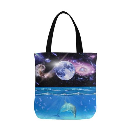 HATIART Sleeping Dolphin Reusable Grocery Bags Shopping Bag Canvas Tote Bag Shoulder Bag - image 3 of 3
